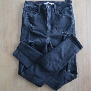 Levis mile high super skinny size 26 ripped jean